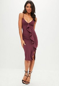 Read more about Purple thigh split frill front midi dress purple