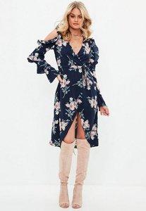 Read more about Navy cold shoulder wrap floral midi dress multi