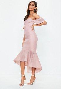 Read more about Pink bardot fishtail midi dress pink