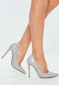 Read more about Grey patent heeled court shoes grey