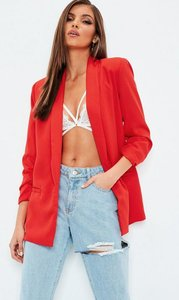 Read more about Red gathered sleeve crepe tailored blazer red