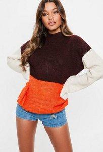 Read more about Burgundy colour block turn back cuff jumper multi