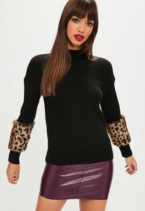 Read more about Black knitted leopard cuff jumper black
