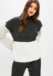 Read more about Grey colour block high neck flare sleeve jumper grey