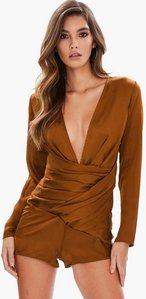 Read more about Bronze satin layered plunge neck playsuit brown