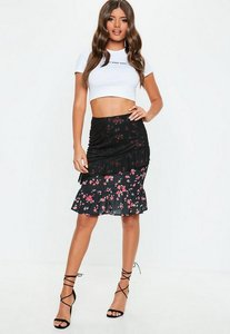 Read more about Black mesh frill overlay midi skirt black