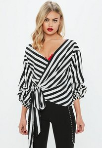 Read more about Black striped puffball sleeve wrap blouse black