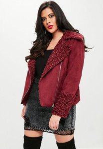 Read more about Curve burgundy shearling borg aviator jacket red
