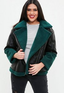 Read more about Curve black premium faux sherling aviator jacket black