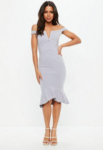 Read more about Tall grey v bar bardot frill hem midi dress grey