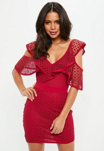 Read more about Tall red layered lace cold shoulder mini dress red