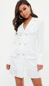 Read more about Tall white tailored gold button blazer dress white