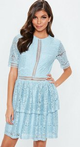 Read more about Tall blue full lace layered mini dress blue