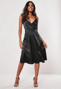 Read more about Tall black satin sleeveless midi dress black