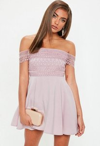 Read more about Petite pink lace strap bardot skater dress pink