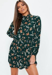Read more about Petite green high neck floral mini dress green