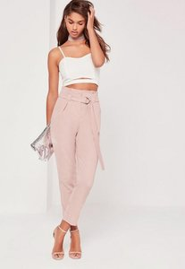 Read more about Tall pink paperbag waist cigarette trousers pink