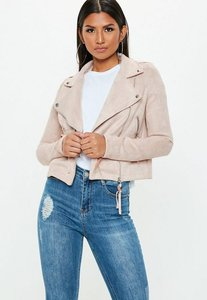 Read more about Tall exclusive nude faux suede biker jacket brown