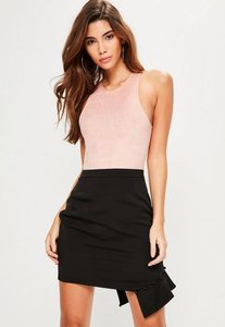 Read more about Tall exclusive black frill covered button mini skirt black