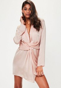 Read more about Tall pink satin wrap plunge dress pink