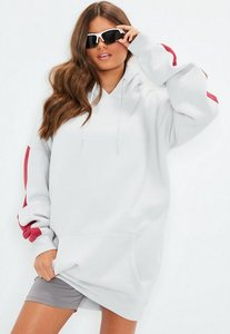 Read more about Tall grey stripe hoody sweater dress grey
