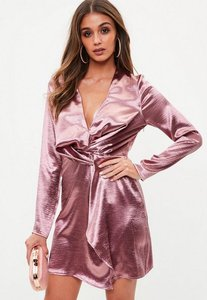 Read more about Tall pink hammered satin twist front dress pink