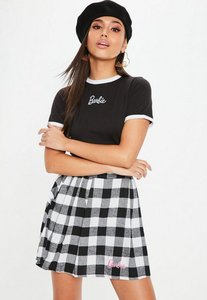 Read more about Barbie x missguided tall black white checked mini skirt black