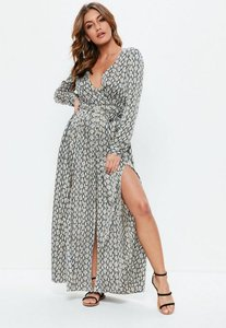 Read more about Tall black snake print maxi dress black