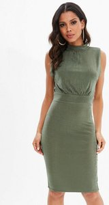 Read more about Tall khaki high neck slinky bodycon dress beige