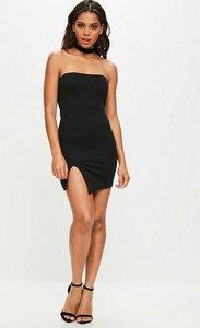 Read more about Tall black bandeau side split mini dress black
