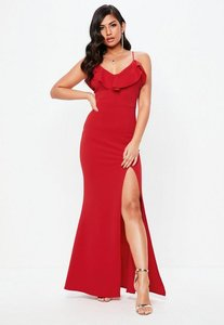 Read more about Tall red frill detail plunge neck maxi dress red