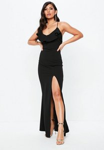 Read more about Tall black frill detail plunge neck maxi dress black