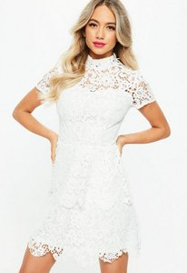Read more about Tall white short sleeve layered lace dress white