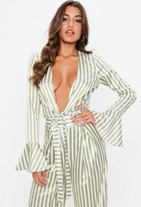 Read more about Tall green stripe plunge satin blouse beige