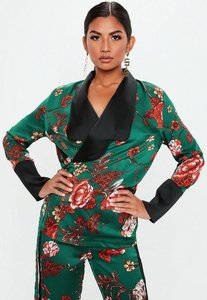 Read more about Tall green wrap front contrast collar jacket green