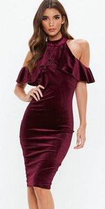 Read more about Tall velvet frill cold shoulder dress burgundy