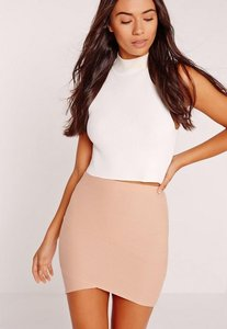 Read more about Petite asymmetric bandage mini skirt nude beige