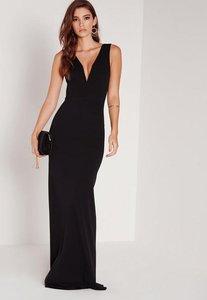 Read more about Petite v plunge scuba maxi dress black black