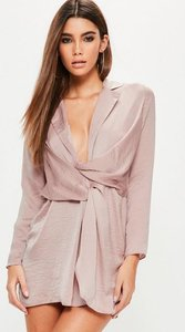 Read more about Petite exclusive purple satin wrap plunge dress purple