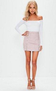 Read more about Petite mauve faux suede double zip mini skirt purple