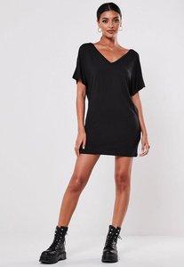 Read more about Petite black wide v-neck t-shirt dress black