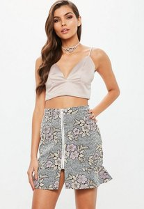 Read more about Petite black floral metallic kick hem mini skirt multi