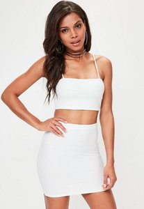 Read more about Petite white bandage ribbed mini skirt white