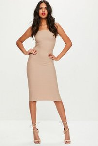 Read more about Petite nude strapless bandage midi dress beige