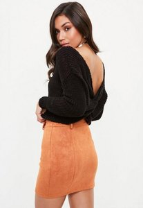 Read more about Petite black knitted twist back jumper black
