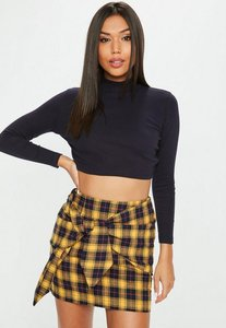 Read more about Petite navy high neck ribbed crop top blue