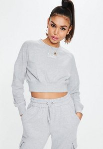 Read more about Barbie x missguided petite grey cropped sweatshirt grey
