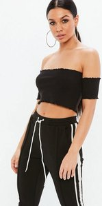 Read more about Petite black lettuce hem ribbed bardot crop top black