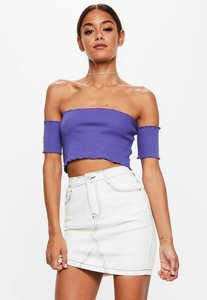 Read more about Petite purple lettuce hem ribbed bardot crop top blue