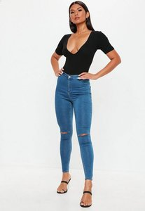 Read more about Petite blue high waisted slash knee skinny jeans blue